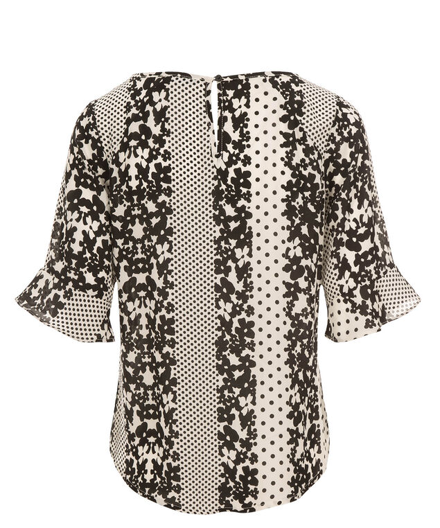 Ruffle Elbow Blouse, Black/White Print, hi-res