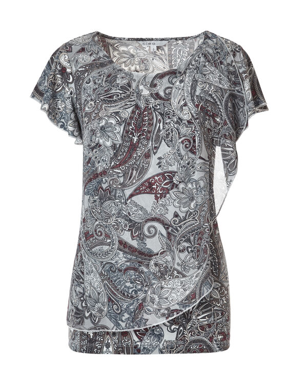 Paisley Flyaway Blouse, Grey/Clay/Blue/Stone, hi-res
