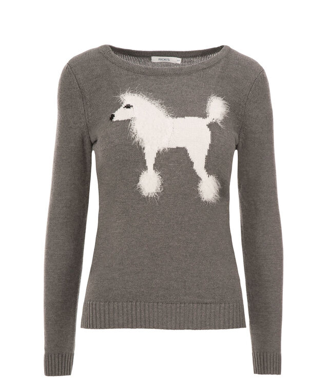 Poodle Intarsia Pullover, Grey Print, hi-res
