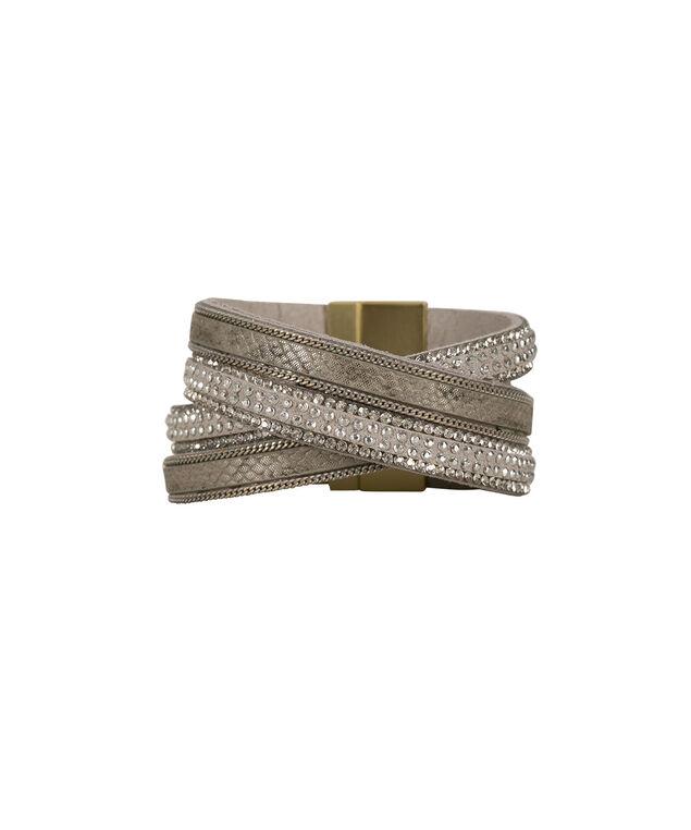 Chain & Crystal Wrap Bracelet, Grey/Antique Gold, hi-res