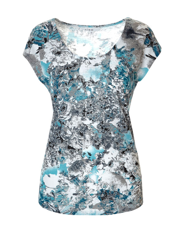 Blue Floral Deep Scoop Tee, Dark Turquoise/White/Blue/Grey, hi-res