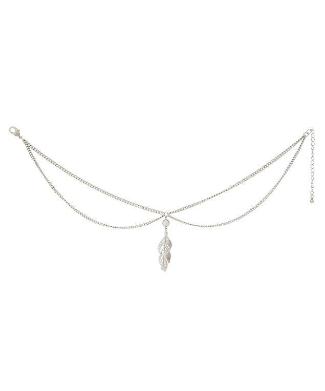 choker with feather, SILVER, hi-res