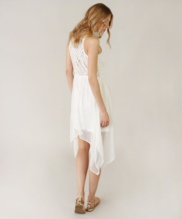 sharkbite hem dress - wb, WHITE, hi-res