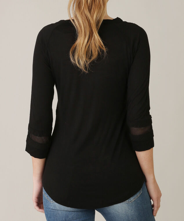 crochet detail shirt - wb, BLACK, hi-res