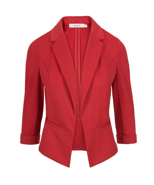 Knit Open Crop Blazer, Poppy Red, hi-res