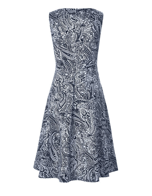 Navy Paisley Fit and Flare Dress, Navy/White Paisley, hi-res
