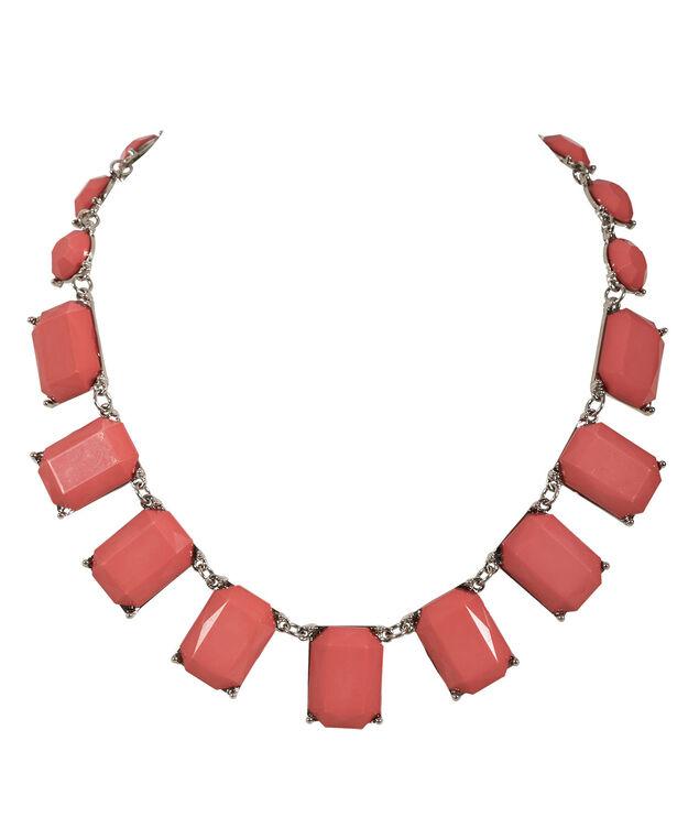 Faceted Square Stone Necklace, Strawberry Daiquiri/Rhodium, hi-res