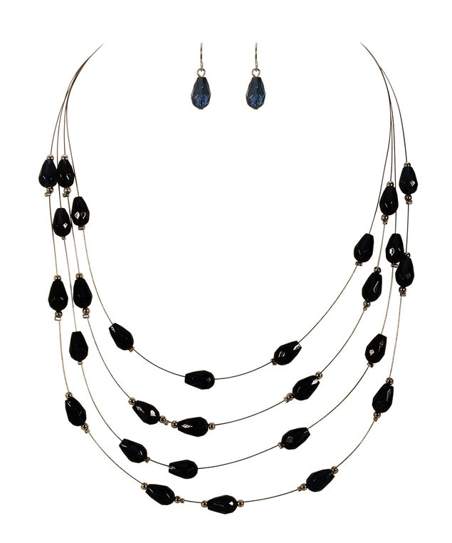Stationed Gem Necklace Set, Navy/Rhodium, hi-res
