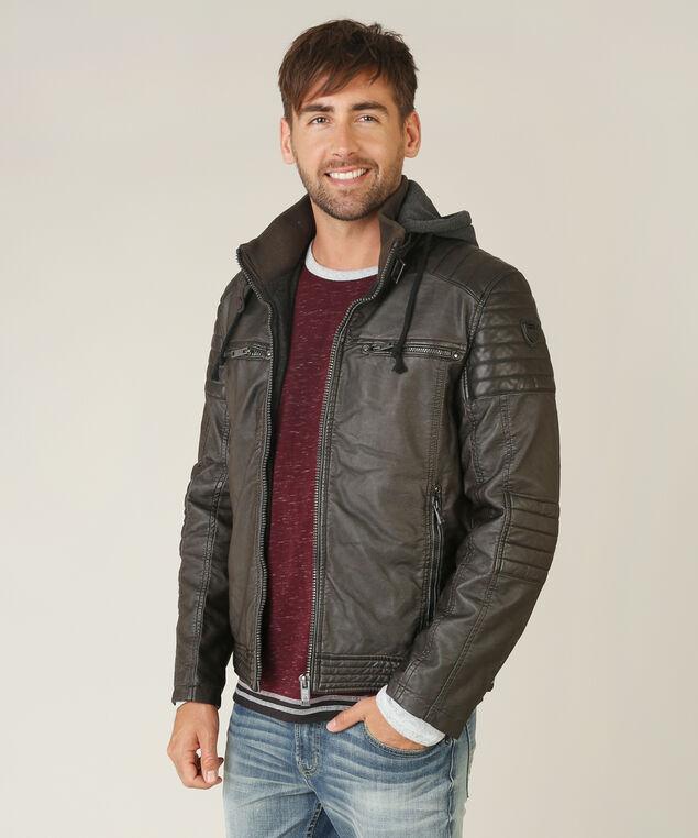 vegan leather jacket with hood, BROWN, hi-res