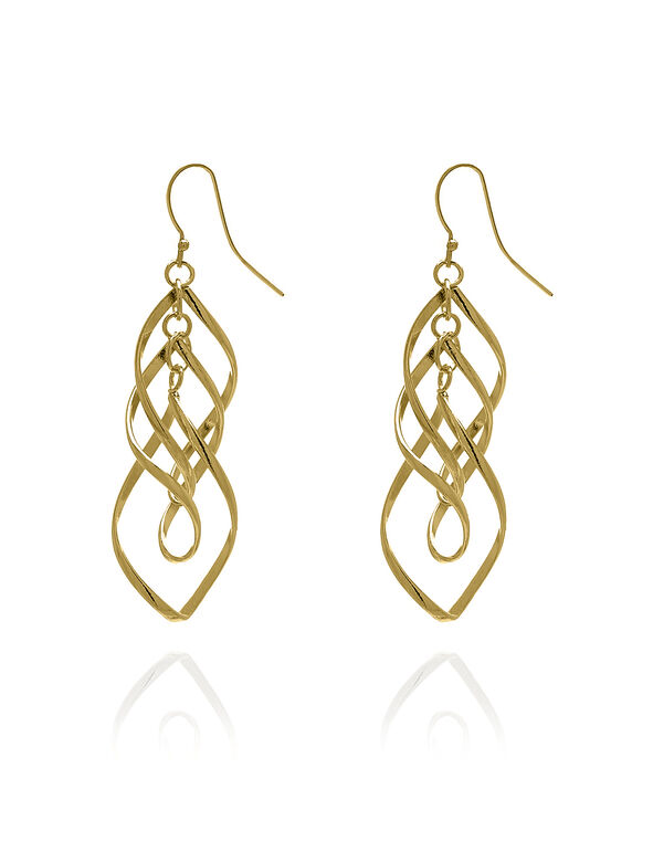 Gold Spiral Drop Earring, Gold, hi-res