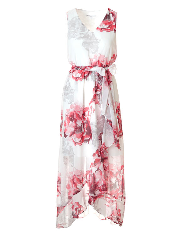 Coral Ruffle Wrap Maxi Dress, White/Coral/Grey, hi-res