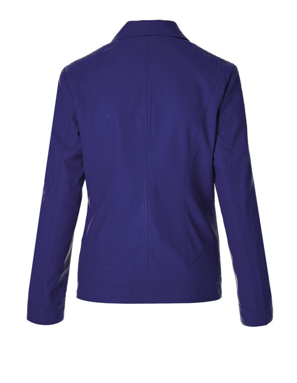 Royal Blue Pleather Collared Jacket, Royal Blue, hi-res