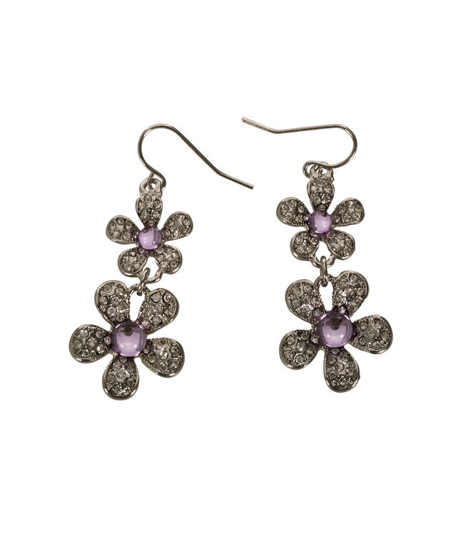 Flower Drop Earring, Lilac/Rhodium, hi-res