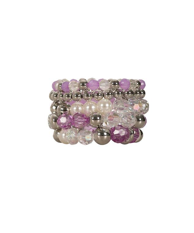 Faceted & Stone Stretch Bracelet Set, Iced Violet/Rhodium, hi-res