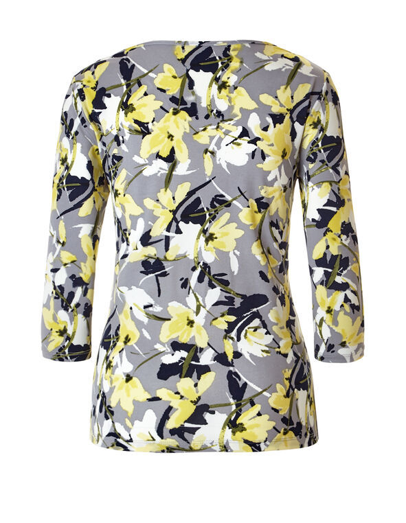 Floral Print Keyhole Top, Grey/Yellow/Navy, hi-res