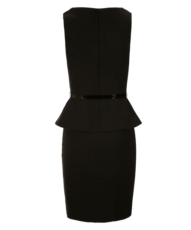 Peplum Microtwill Dress, Black, hi-res