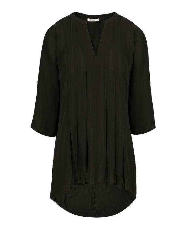 Pleated Front Blouse, Black, hi-res