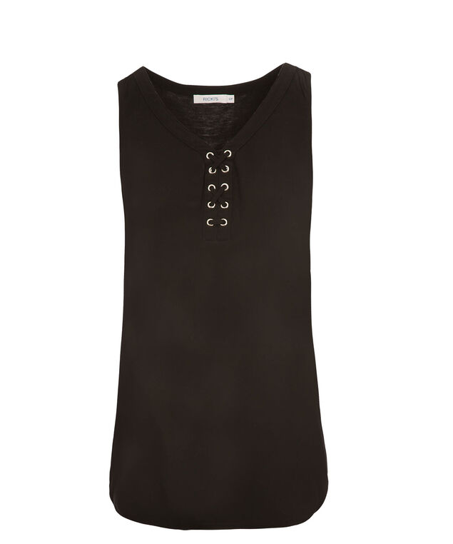Lace Up Tank, Black, hi-res