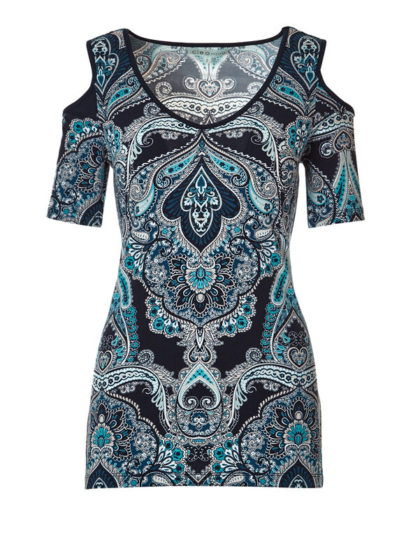 Paisley Print Cold Shoulder Top, Navy/Turquoise/Stone, hi-res