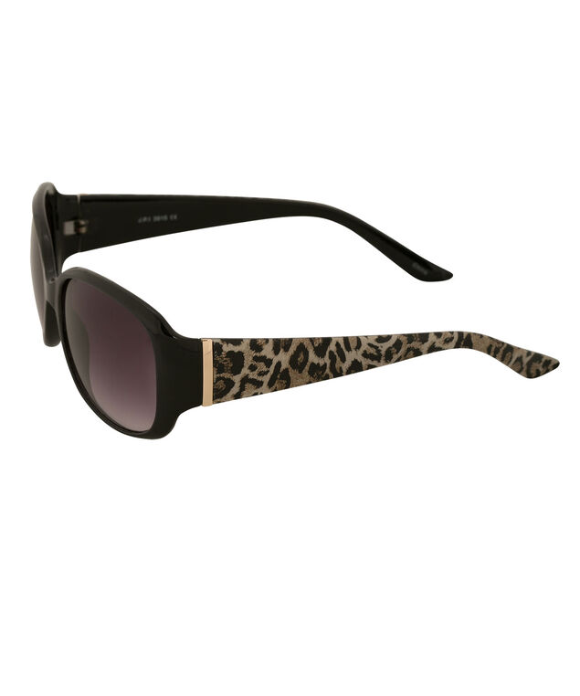 Leopard Print Sunglasses, Black/Brown, hi-res