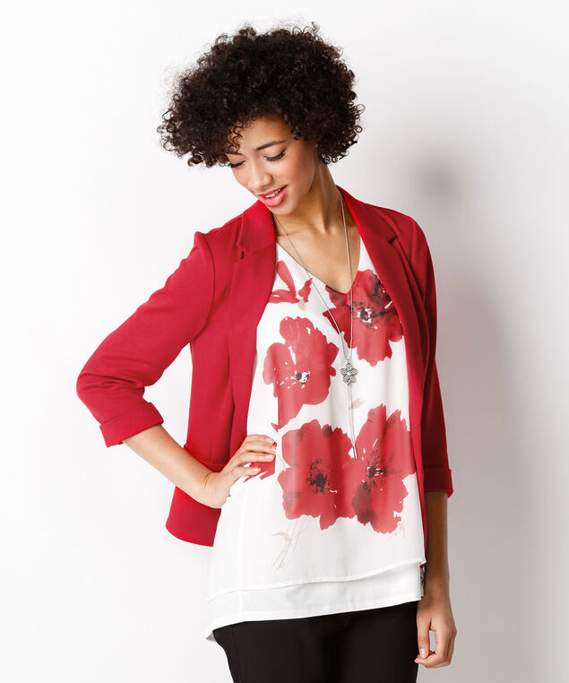 Double Layer Floral Tank, Poppy Red  Print, hi-res