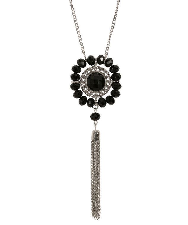 Stone Tassel Necklace, Black/Rhodium, hi-res