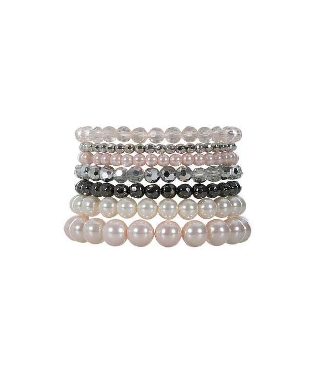 Pearl Stretch Bracelet Set, Pink Pearl/Rhodium, hi-res