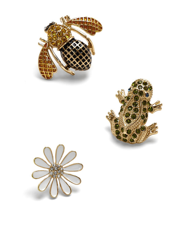 Gold Spring Jewel Pin Set, Gold, hi-res