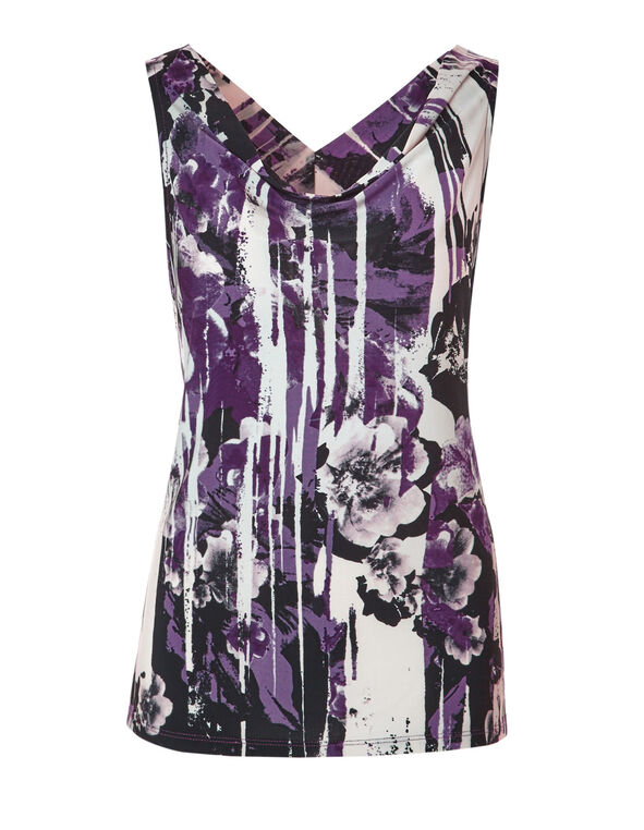 Plum Abstract Print Top, Plum/Black/Ivory, hi-res