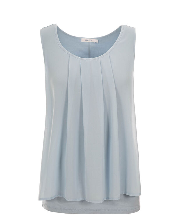Pleat Neck Woven Overlay, Misty Blue, hi-res