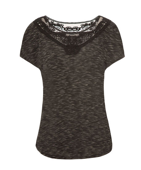 Short Sleeve Crochet Yoke, Black, hi-res
