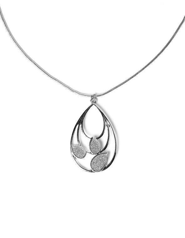 Rhodium Glitter Teardrop Necklace, Rhodium, hi-res