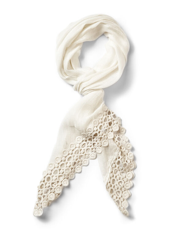 Ivory Embroidered Oblong Scarf, Ivory, hi-res