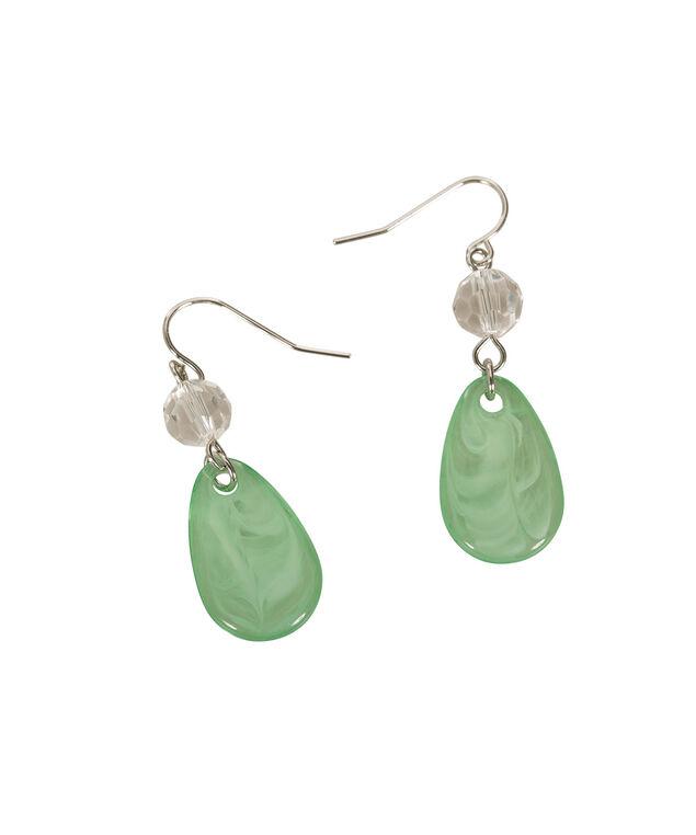 Milky Teardrop Earring, Leaf Green/Rhodium, hi-res