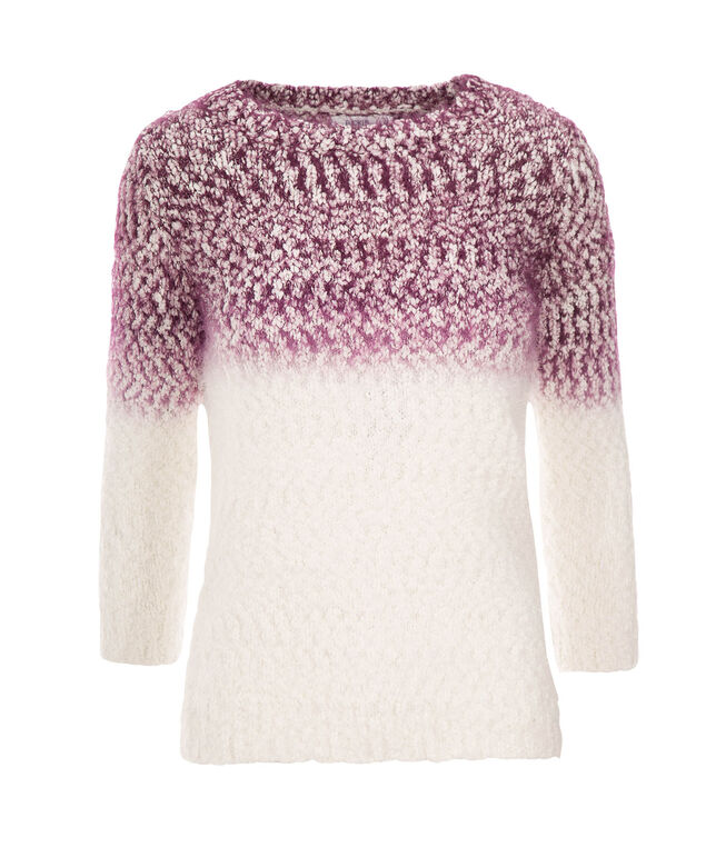 Ombre Feather Pullover, Wineberry/White, hi-res