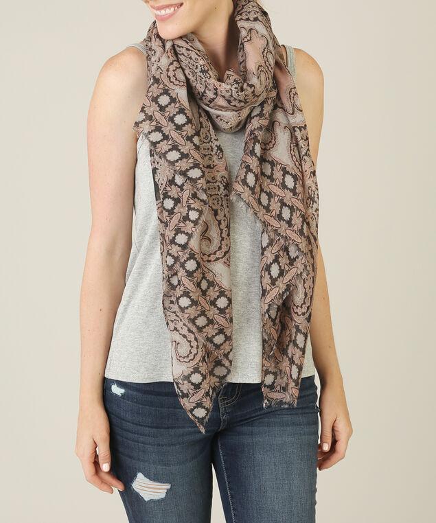 oblong paisley scarf, BROWN/ROSE, hi-res