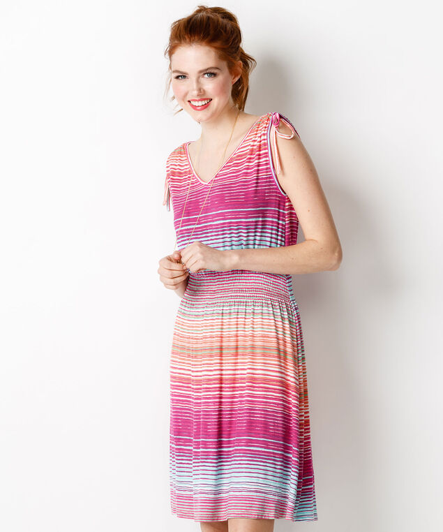 Tie Shoulder Flip Flop Dress, Pink Stripe, hi-res