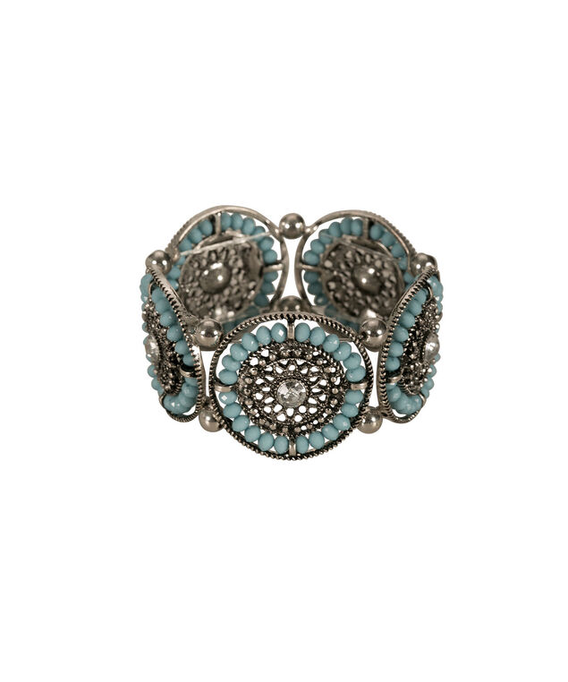 Circle Filigree Stretch Bracelet, Teal/Burnished Silver, hi-res