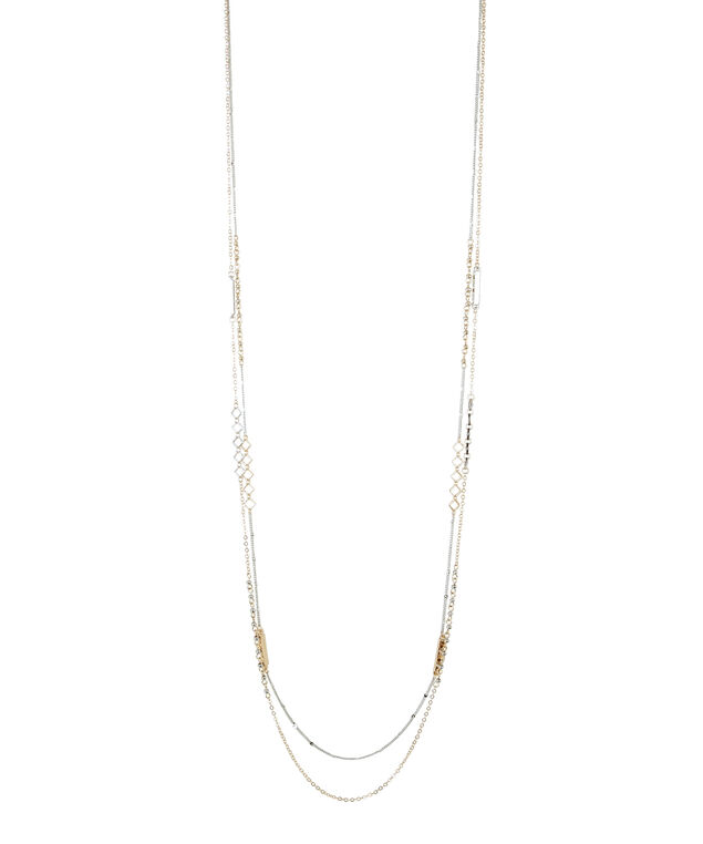 long double strand necklace, GOLD/SILVER, hi-res