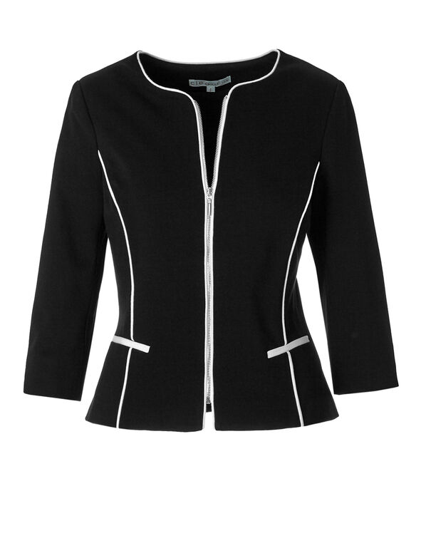 Black 3/4 Sleeve Zipper Blazer, Black, hi-res