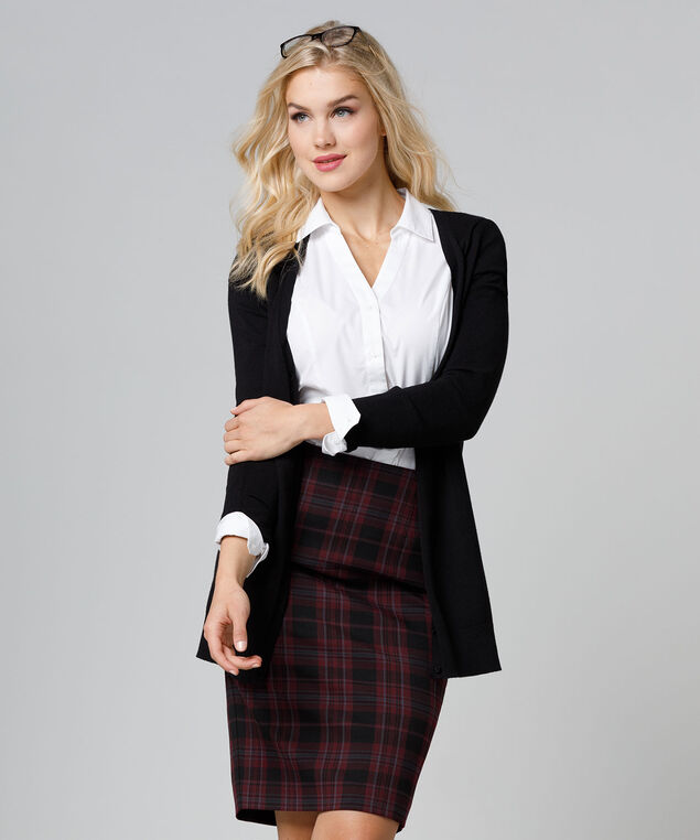 Tri-Blend Plaid Pencil Skirt, Burgundy, hi-res
