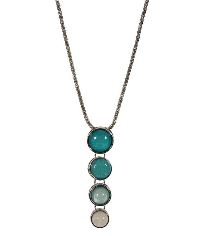 Ombre Stone Pendant Necklace, Teal/Rhodium, hi-res