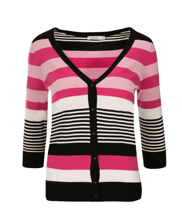 3/4 Sleeve Striped Cardi, Pink Print, hi-res