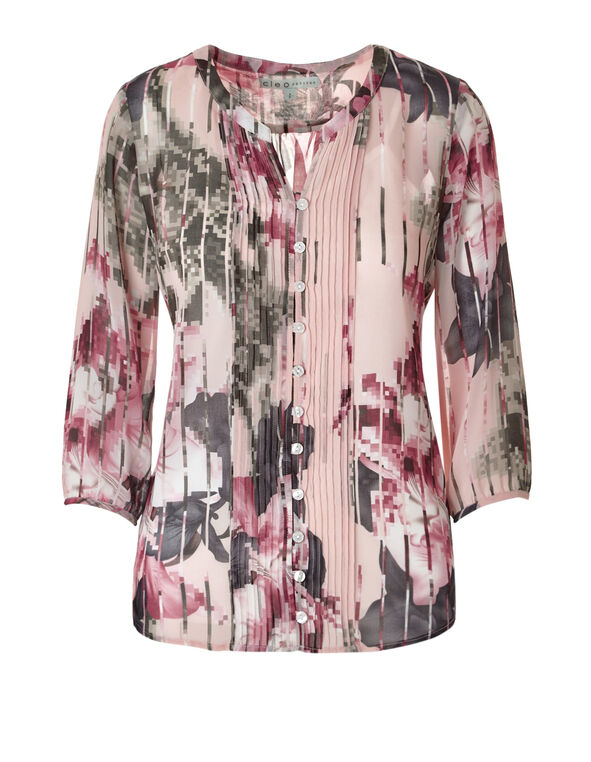 Printed Peasant Popover Blouse, Soft Pink/White/Grey, hi-res
