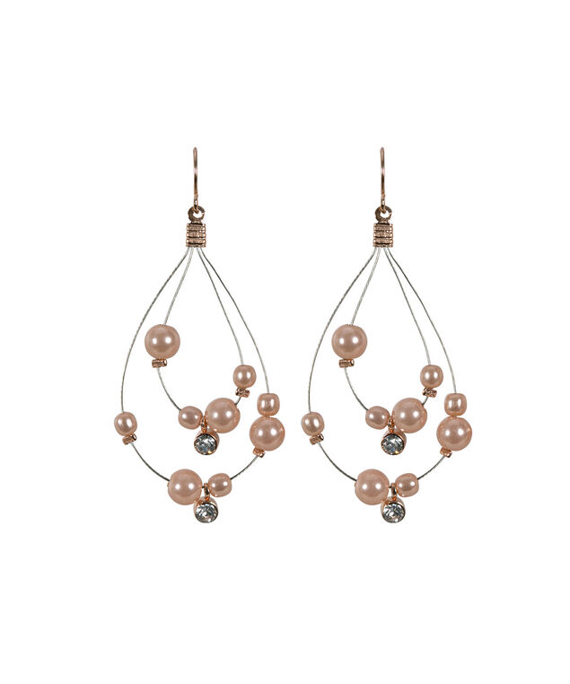 Wire Teardrop Pearl Earring, Pink/Rose Gold, hi-res