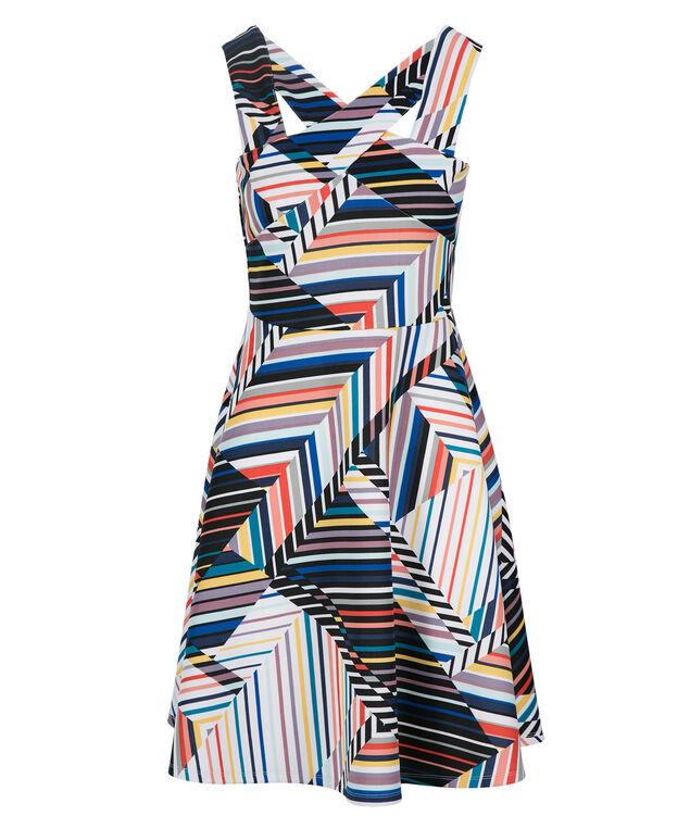 Stripe Crossover Dress, White Print, hi-res