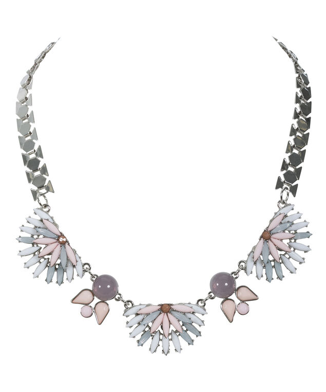 Faceted Stone Statement Necklace, Pink/Blue/Rhodium, hi-res