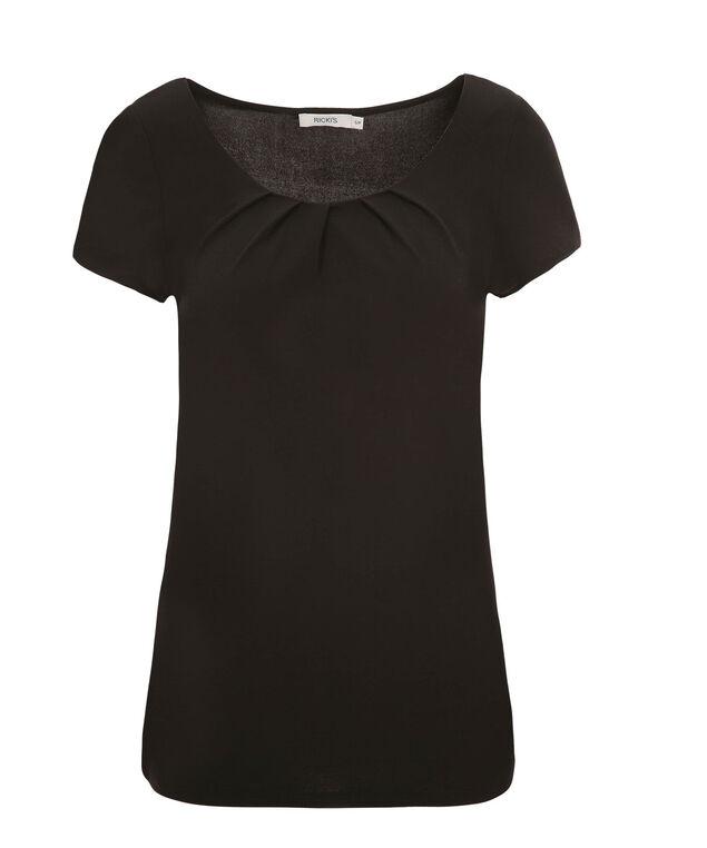 Short Sleeve Pleat Tee, Black, hi-res
