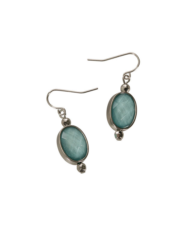 Glitter Stone Earring, Green/Rhodium, hi-res