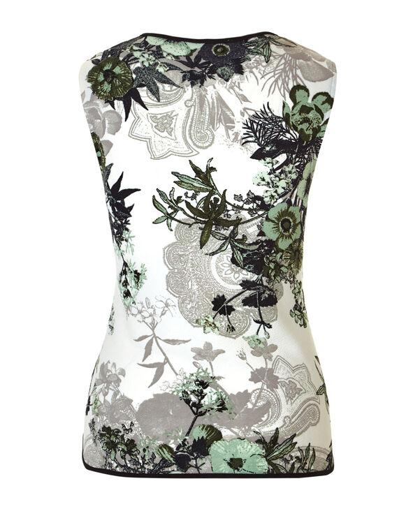 Mint Floral Keyhole Top, Ivory/Mint/Black, hi-res